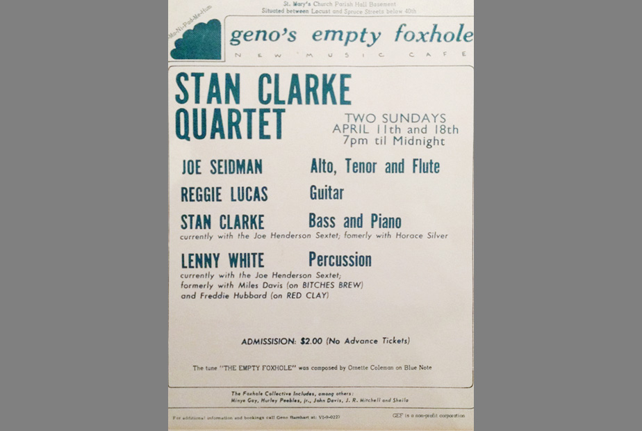 Poster for gig with Stan Clarke, Philadelphia, 1970